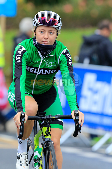 Lara Gillespie Ireland takes advantage of free practice on the Harrogate Circuit before the Men Elite Individual Time Trial of the UCI World Championships 2019 running 54km from Northallerton to Harrogate, England. 25th September 2019.<br /> Picture: Eoin Clarke | Cyclefile<br /> <br /> All photos usage must carry mandatory copyright credit (© Cyclefile | Eoin Clarke)