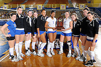 22 November 2008:  The New Orleans Privateers pose with the tournament runner up trophy after the WKU 3-0 victory over New Orleans in the championship game of the Sun Belt Conference tournament at U.S. Century Bank Arena in Miami, Florida.