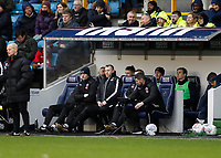 9th February 2020; The Den, London, England; English Championship Football, Millwall versus West Bromwich Albion; Millwall Manager  Gary Rowett sitting in the dugout with his coaching staff