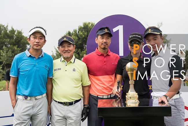 (L-R) Wu Zhoutong, Danny Lau, Ricky Chan, Natalie Gulbis, Tenniel Chu at the 1st hole during the World Celebrity Pro-Am 2016 Mission Hills China Golf Tournament on 23 October 2016, in Haikou, China. Photo by Weixiang Lim / Power Sport Images