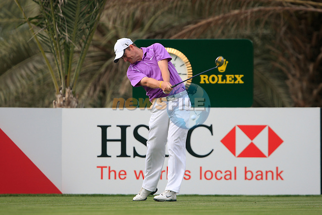 Marc Warren tees off on the 14th tee during Thusday Day 1 of the Abu Dhabi HSBC Golf Championship, 20th January 2011..(Picture Eoin Clarke/www.golffile.ie)