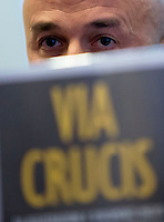 Il giornalista Gianluigi Nuzzi presenta il suo nuovo libro 'Via Crucis' a Roma, 4 novembre 2015.<br /> Italian journalist Gianluigi Nuzzi attends a press conference to present his book 'Via Crucis' on Vatican scandals, in Rome, 4 November 2015.<br /> UPDATE IMAGES PRESS/Riccardo De Luca