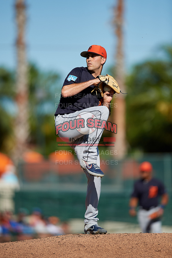 Detroit Tigers starting pitcher Matthew Boyd (48) delivers a pitch during a Grapefruit League Spring Training game against the Baltimore Orioles on March 3, 2019 at Ed Smith Stadium in Sarasota, Florida.  Baltimore defeated Detroit 7-5.  (Mike Janes/Four Seam Images)