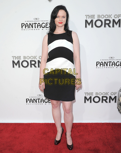 "Thora Birch.""The Book of Mormon"" Hollywood Opening night Held At The Pantages theatre, Hollywood, California, USA..September 12th, 2012.full length black white sleeveless stripe dress.CAP/DVS.©DVS/Capital Pictures."