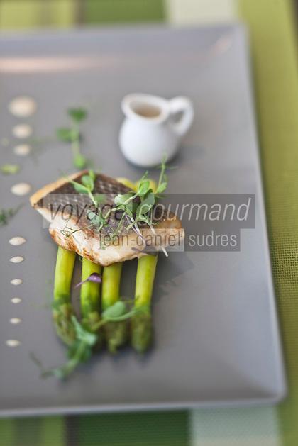 Europe/France/Bretagne/22/Côtes d'Armor/Saint-Brieuc:  Bar aux asperges recette de Gwenaël Lavigne Restaurant: O Saveurs,