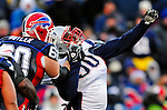 28 December 2008: New England Patriots' defensive lineman Le Kevin Smith is held by Buffalo Bills' Brad Butler in the fourth quarter at Ralph Wilson Stadium in Orchard Park, NY. The Patriots kept their playoff hopes alive defeating the Bills 13-0 in their 16th win against Buffalo of their past 17 meetings. ***** Editorial Use Only ******..Mandatory Photo Credit: Ed Wolfstein Photo