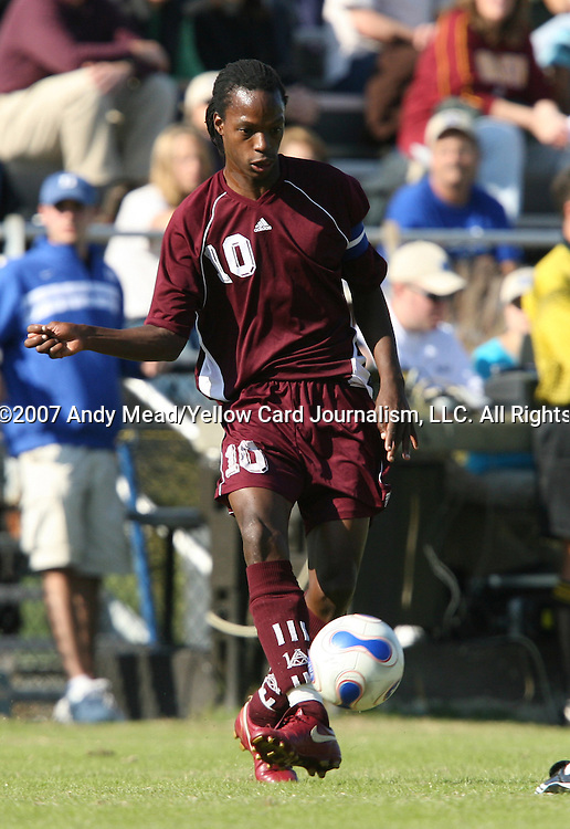 04 November 2007: Alabama A&M's MfanaFuthi Bhembe (SWZ). The Alabama A&M University Bulldogs defeated the Duke University Blue Devils 4-3 at Koskinen Stadium in Durham, North Carolina in an NCAA Division I Men's Soccer game.