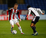 Mark Duffy of Sheffield Utd turns away from Jem Karacan of Bolton Wanderers during the Championship match at the Macron Stadium, Bolton. Picture date 12th September 2017. Picture credit should read: Simon Bellis/Sportimage