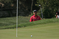 Anthony Kim watches his ball after chipping out of the bunker on the 8th during the final round of Single Matches at The 37th Ryder cup from Valhalla Golf Club in Louisville, Kentucky....Photo: Fran Caffrey/www.golffile.ie.