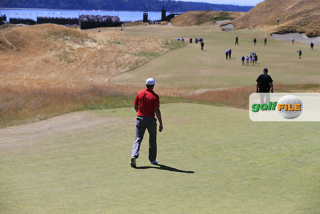 Jordan Speith (USA) walks off the 1st tee to start his match during Saturday's Round 3 of the 2015 U.S. Open 115th National Championship held at Chambers Bay, Seattle, Washington, USA. 6/20/2015.<br /> Picture: Golffile | Eoin Clarke<br /> <br /> <br /> <br /> <br /> All photo usage must carry mandatory copyright credit (&copy; Golffile | Eoin Clarke)