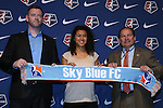 15 January 2016: Raquel Rodriguez (CRC), with head coach Christy Holly (left) and team president Tony Novo (right), was taken with the #2 overall pick by Sky Blue FC. The 2016 NWSL College Draft was held at The Baltimore Convention Center in Baltimore, Maryland as part of the annual NSCAA Convention.
