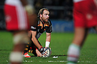 Andy Goode of Wasps lines the ball up for a kick at the posts. European Rugby Champions Cup match, between Wasps and Harlequins on October 26, 2014 at Adams Park in High Wycombe, England. Photo by: Patrick Khachfe / JMP