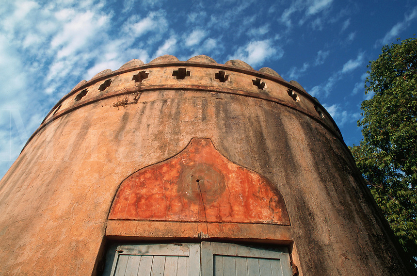 The exterior of a round building. Ahmedabad, India.