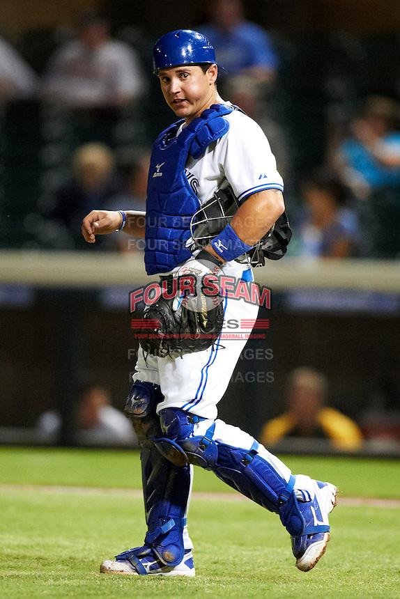 Salt River Rafters catcher Sean Ochinko #46, of the Toronto Blue Jays organization, during an Arizona Fall League game against the Phoenix Desert Dogs at Salt River Fields at Talking Stick on October 16, 2012 in Scottsdale, Arizona.  The game was called after 11 innings with a 3-3 tie.  (Mike Janes/Four Seam Images)