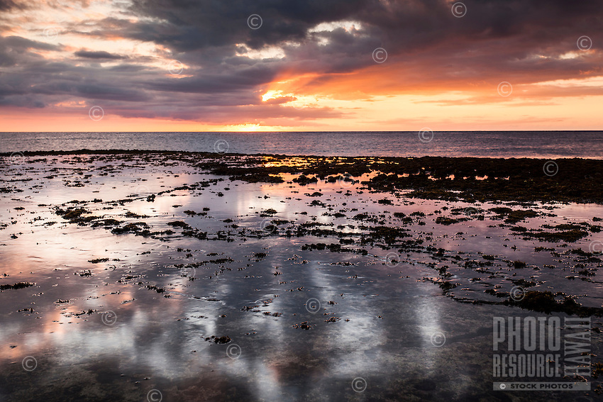 A colorful sunset reflects off a shallow water-covered reef at Shark's Cove, North Shore, O'ahu.