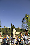 Israel, Jerusalem, Palm Sunday procession at the foothill of the Mount of Olives