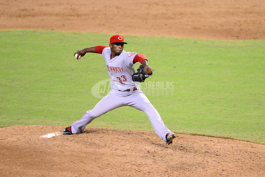 Aug. 29, 2012; Phoenix, AZ, USA: Cincinnati Reds pitcher Jose Arredondo against the Arizona Diamondbacks at Chase Field. Mandatory Credit: Mark J. Rebilas-USA TODAY Sports