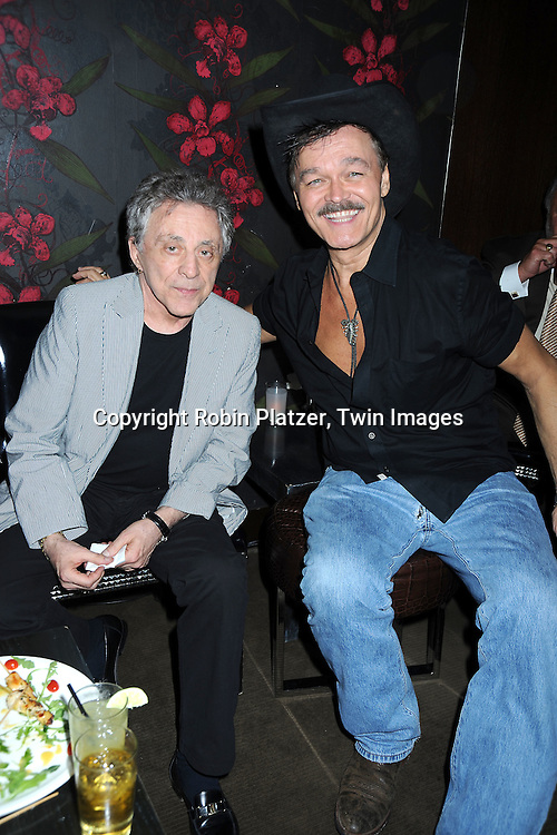 "Frankie Valli and Randy Jones at The opening night party of ""White's Lies"" on May 6, 2010 at Inc Lounge in New York City. The show stars Betty Buckley, Tuc Watkins, Peter Scolari and Christy Carlson Romano."