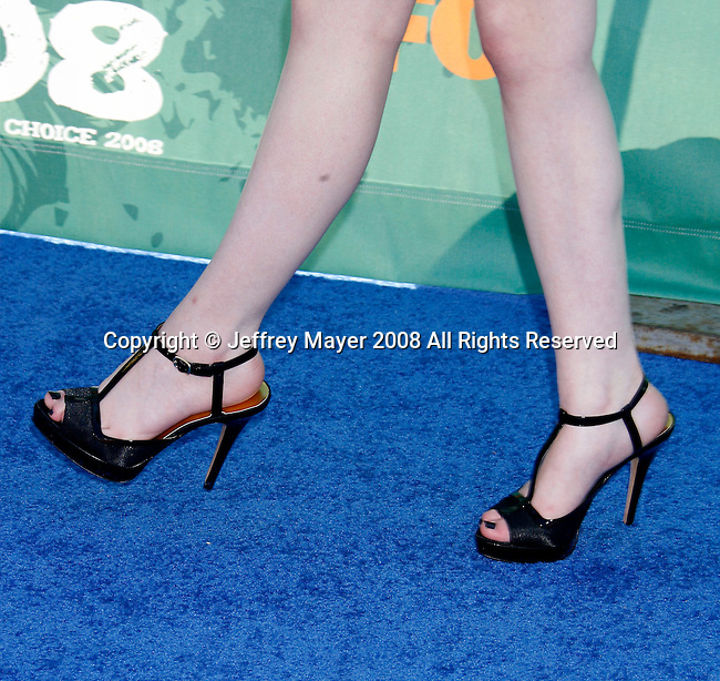 Actress Miranda Cosgrove 's shoes at the 2008 Teen Choice Awards at the Gibson Amphitheater on August 3, 2008 in Universal City, California.