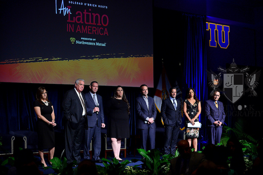 """MIAMI, FL - SEPTEMBER 28: Elizabeth Bejar, VP of Academic Affairs, FIU, Dr. Pedro Jose Greer, Presidential Medal of Freedom, Miami, Brent Wilkes,Executive Director, LULAC National, Washington D.C., Gaby Pacheco,National Dreamer Advocate, Washington D.C., Jorge Plasencia, Co-founder and CEO of República and immediate past chairman of NCLR, Alberto Carvalho, Superintendent of Miami-Dade County Public Schools, Soledad O'Brien, Award-winning Journalist and  Dr. José A. Vicente, President, Miami Dade College's Wolfson Campus attends and Hosts the """"I Am Latino In America"""" conversation and Speaking tour at Florida International University presented by Northwestern Mutual on Monday September 28, 2015 in Miami, Florida. ( Photo by Johnny Louis / jlnphotography.com )"""