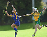 Niki Kaiser of Newmarket in action against Sinead Quinn of Inagh-Kilnamona during their senior county final in Clarecastle. Photograph by John Kelly.