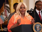 Yvonne Fountain, a beneficiary of the First Step Act, makes remarks as United States President Donald J. Trump hosts the 2019 Prison Reform Summit and First Step Act Celebration in the East Room of the White House in Washington, DC on Monday, April 1, 2019.<br /> Credit: Ron Sachs / CNP