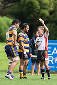 Referee John Wright issues a yellow card to Theodore Solipo during the Premier Counties Power Club Rugby Round 3, Counties Power Game of the Week, between Patumahoe and Bombay, played at Patumahoe on Saturday March 24th 2018. <br /> Photo by Richard Spranger.<br /> <br /> Patumahoe Counties Power Cup Holders won the game 26 - 23 after trailing 7 - 23 at halftime.<br /> Patumahoe 26 - Penalty try, Richard Taupaki, Theodore Solipo, Craig Jones tries; Riley Hohepa 2 conversions. <br /> Bombay 23 - Shaun Muir, Jordan Goldsmith, Liam Daniela, tries; Tim Cossens conversion; Tim Cossens 2 penalties.