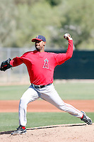 Manuel Flores, Los Angeles Angels 2010 minor league spring training..Photo by:  Bill Mitchell/Four Seam Images.