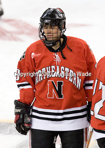 Bryan Esner (NU - 8) - The Northeastern University Huskies defeated the Harvard University Crimson 3-1 in the Beanpot consolation game on Monday, February 12, 2007, at TD Banknorth Garden in Boston, Massachusetts.