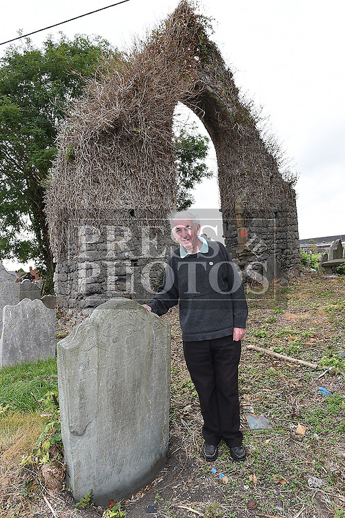Nicky Corrigan stand with a headstone erected by his Great, Great, Great, Great grandfather Patrick Corrigan in the Cord Cemetery in 1792. Photo:Colin Bell/pressphotos.ie