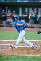 Jeremy Arocho (8) of the Ogden Raptors bats against the Grand Junction Rockies at Lindquist Field on June 17, 2019 in Ogden, Utah. The Rockies defeated the Raptors 9-0. (Stephen Smith/Four Seam Images)