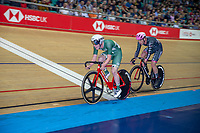 25th January 2020; National Cycling Centre, Manchester, Lancashire, England; HSBC British Cycling Track Championships; Rhys Britton leads Will Perrett as they push to gain a lap on the field in the Men's 30km points race