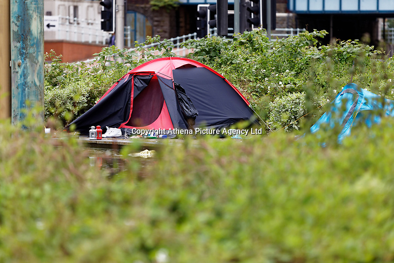 Pictured: Tents on the roundabout on the junction of Callaghan Square and St Mary Street in Cardiff, Wales, UK.  Wednesday 12 June 2019<br /> Re: Homeless people living in tents in Cardiff, Wales, UK.