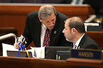 Nevada Assembly Republicans John Ellison, left, and Paul Anderson work on the Assembly floor at the Legislative Building in Carson City, Nev., on Monday, April 6, 2015. <br /> Photo by Cathleen Allison