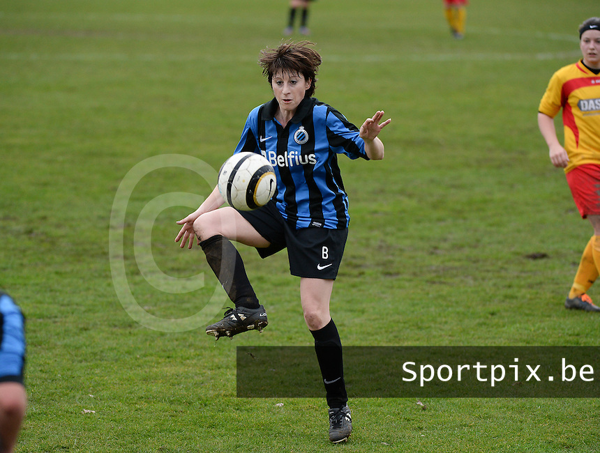 20140104 - AALTER , BELGIUM : Brugge's Ingrid De Rycke pictured during the female soccer match between Club Brugge Vrouwen and Massenhoven VC , of the 1/8 final matchday in the Belgian Women Cup competition. Saturday 4 January 2014 . PHOTO DAVID CATRY