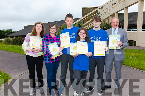 Colaiste na Sceilge Leaving Cert Applied students win the 'Best Action Project Award' at the 2017 Young Environmental Awards Night in Dublin last week pictured here l-r; Bríd Collison(CnaS LCA Coordinator), Anne Murphy(KDYS), Colin O'Sullivan, Rebeca Thompson, Anthony Quinn & John O'Connor(Principal).