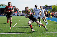 David Strettle of Saracens  runs in the first try of the afternoon during the Aviva Premiership match between Saracens and Worcester Warriors at Allianz Park on Saturday 3rd May 2014 (Photo by Rob Munro)