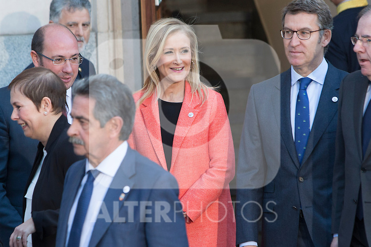 Cristina Cifuentes, president of Comunidad de Madrid during the meeting with the Presidents of 17 autonomous governments at the Senate in Madrid, January  17, 2017. (ALTERPHOTOS/Rodrigo Jimenez)