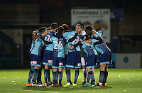 Pre match team huddle during the The Checkatrade Trophy Southern Group D match between Wycombe Wanderers and Coventry City at Adams Park, High Wycombe, England on 9 November 2016. Photo by Andy Rowland.