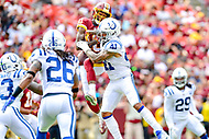 Landover, MD - September 16, 2018: Indianapolis Colts defensive back Matthias Farley (41) knocks down a pass intended for Washington Redskins wide receiver Paul Richardson (10) during game between the Indianapolis Colts and the Washington Redskins at FedEx Field in Landover, MD. The Colts defeated the Redskins 21-9.(Photo by Phillip Peters/Media Images International)