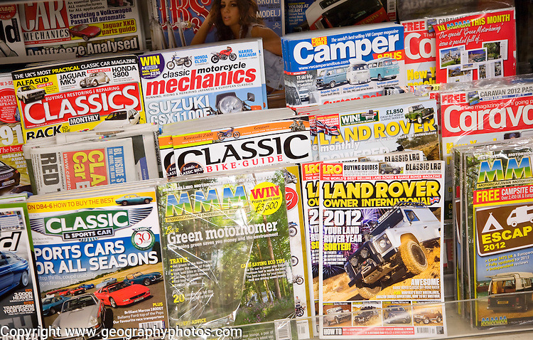 Display racks of UK consumer motoring magazines