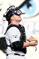 15 July 2011: Catcher David Gauthier of the Rouen Huskies is seen during the 2011 Challenge de France match won 6-5 by the Rouen Huskies over the Senart Templiers at Stade Pierre Rolland, in Rouen, France.