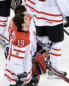 Dustin Tokarski (Canada - 30), John Tavares (Canada - 19) - Canada defeated Russia 6-5 on Saturday, January 3, 2009, at Scotiabank Place in Kanata (Ottawa), Ontario during the 2009 World Junior Championship.