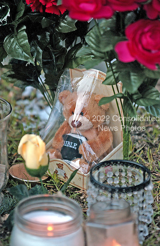 Philippi, WVa - January 7, 2006 -- Detail showing a teddy bear that is part of the memorial display to Jack Weaver, 52, who was lost in the Sago Mine explosion, at the Barbour County Courthouse in Philippi, West Virginia  on January 7, 2006.  .Credit: Ron Sachs / CNP