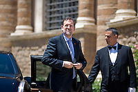 Il primo Ministro Spagnolo Mariano Rajoy arriva a Villa Madama per il vertice tra Italia, Spagna, Germania e Francia..Spanish Premier Mariano Rajoy arrives at Villa Madama in Rome to attend a meeting with Spain German, France and Italy.