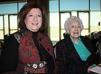 NWA Democrat-Gazette/CARIN SCHOPPMEYER Karen Parker, Judges Special Award winner (left) and her mother Madel Wann enjoy the National Philanthropy Day luncheon.