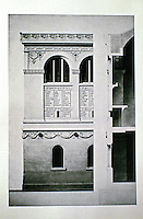 Henri Labrouste (1801-1875). Bibliothèque Sainte-Geneviève, Paris, 1838-1850. Southwest corner: elevation and section. Late 1850. Historical photo.