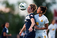 Sky Blue FC forward Lisa De Vanna (11) and Western New York Flash defender Estelle Johnson (12). The Western New York Flash defeated Sky Blue FC 3-0 during a National Women's Soccer League (NWSL) match at Yurcak Field in Piscataway, NJ, on June 8, 2013.