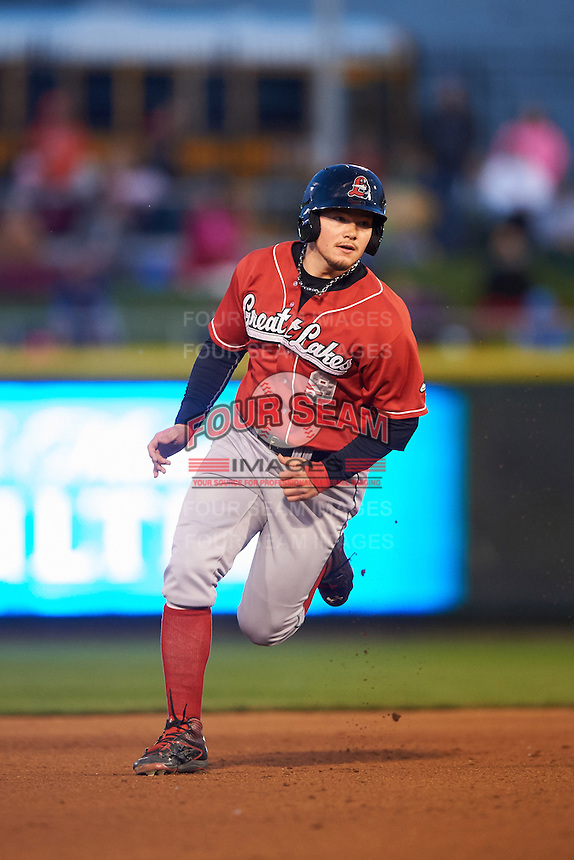 Great Lakes Loons outfielder Alex Verdugo (9) running the bases during a game against the Dayton Dragons on May 21, 2015 at Fifth Third Field in Dayton, Ohio.  Great Lakes defeated Dayton 4-3.  (Mike Janes/Four Seam Images)