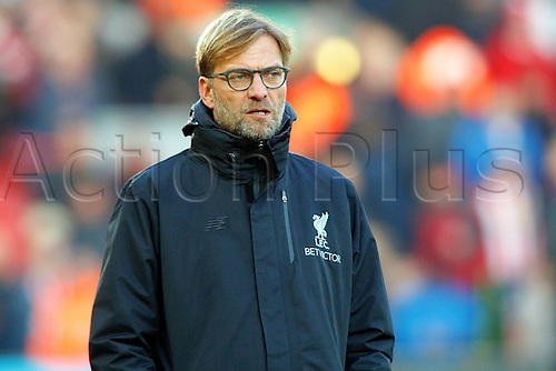 26.11.2016. Anfield, Liverpool, England. Premier League Football. Liverpool versus Sunderland. Liverpool Manager Jurgen Klopp looks on